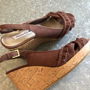 Shoes - American Eagle Brown Canvas Wedge! SZ 6.5W